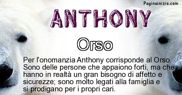 Anthony - Animale associato al nome Anthony