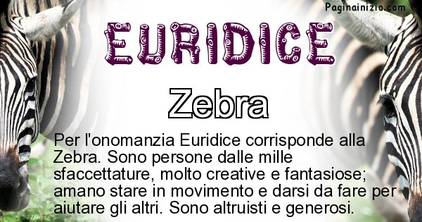Euridice - Animale associato al nome Euridice