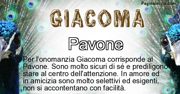 Giacoma - Animale associato al nome Giacoma