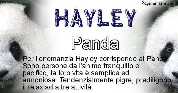 Hayley - Animale associato al nome Hayley