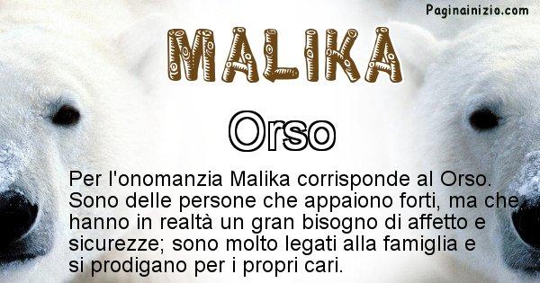 Malika - Animale associato al nome Malika
