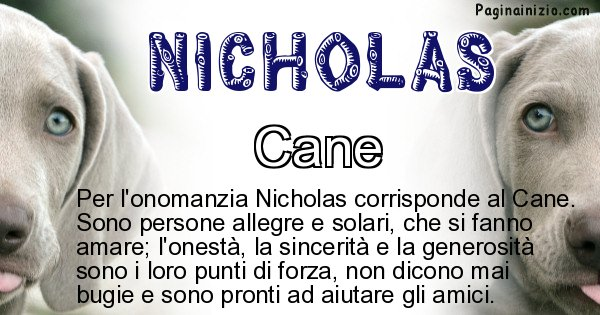 Nicholas - Animale associato al nome Nicholas