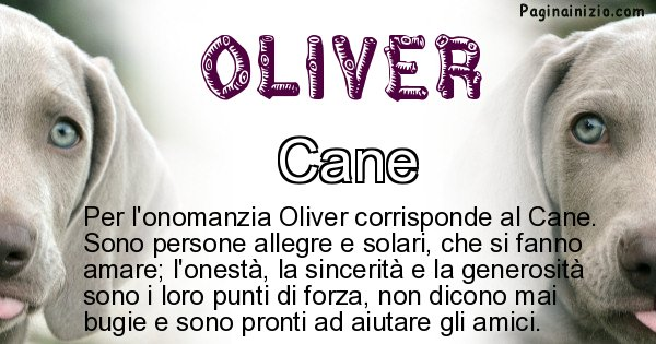 Oliver - Animale associato al nome Oliver