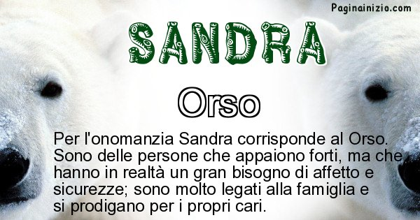 Sandra - Animale associato al nome Sandra