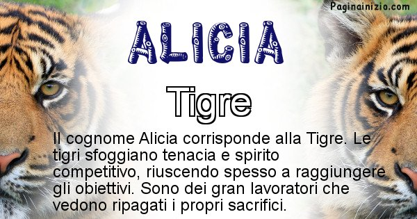 Alicia - Scopri l'animale affine al cognome Alicia
