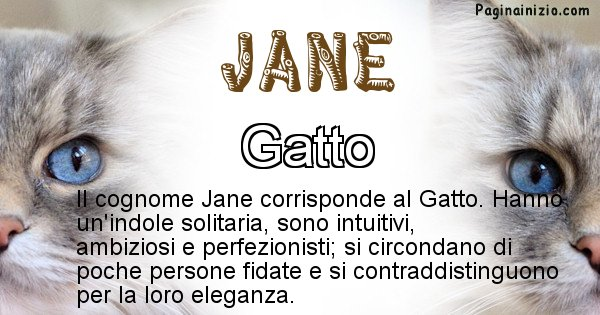Jane - Scopri l'animale affine al cognome Jane