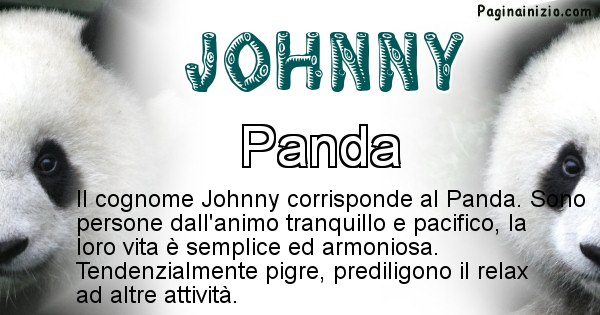 Johnny - Scopri l'animale affine al cognome Johnny