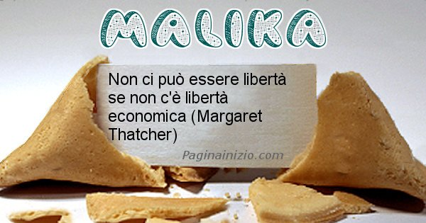Malika - Biscotto della fortuna per Malika