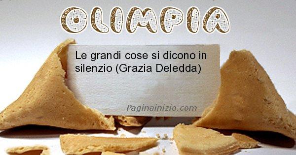 Olimpia - Biscotto della fortuna per Olimpia