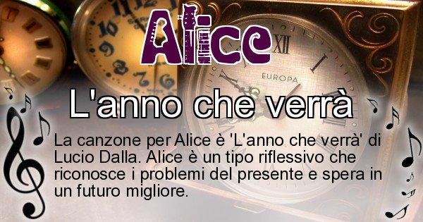 Alice - Canzone ideale per Alice