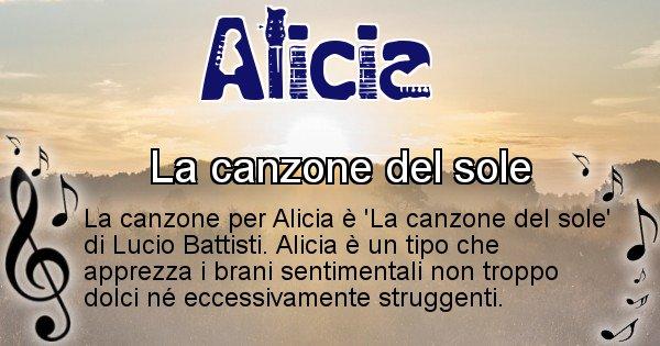 Alicia - Canzone ideale per Alicia