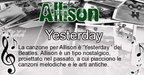Allison - Canzone ideale per Allison