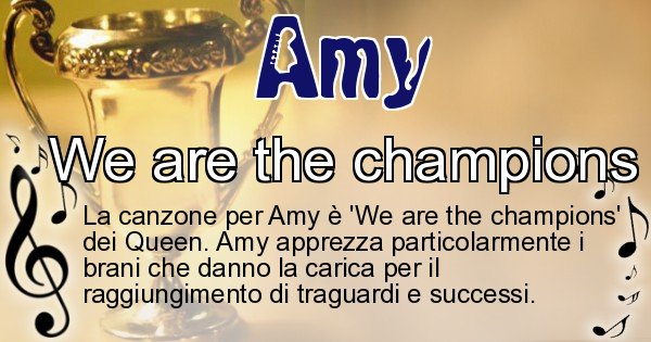 Amy - Canzone ideale per Amy