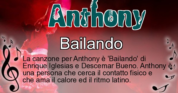 Anthony - Canzone ideale per Anthony