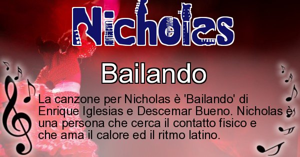 Nicholas - Canzone ideale per Nicholas