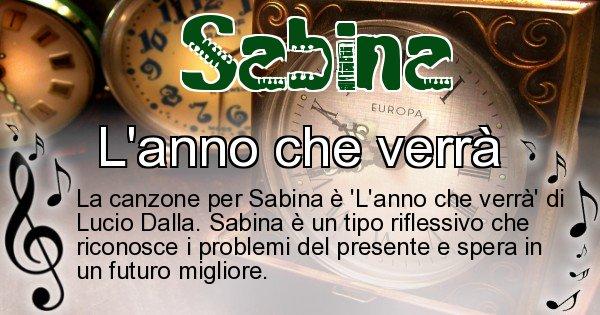 Sabina - Canzone ideale per Sabina