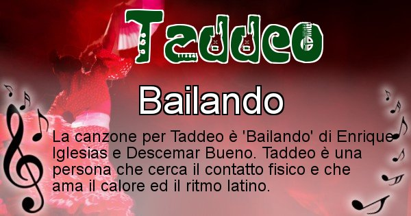 Taddeo - Canzone ideale per Taddeo
