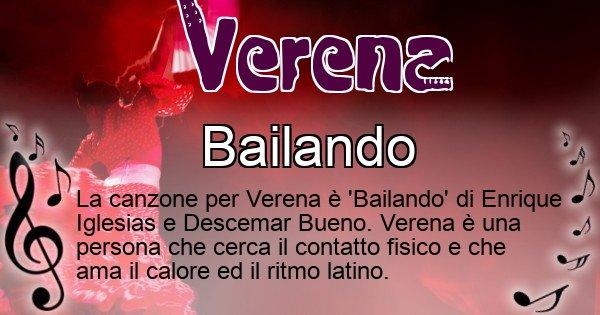 Verena - Canzone ideale per Verena