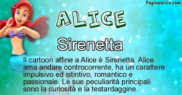 Alice - Personaggio dei cartoni associato a Alice