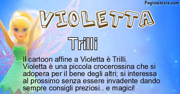 Violetta - Personaggio dei cartoni associato a Violetta