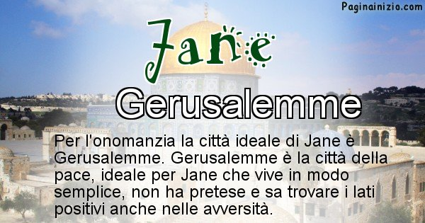 Jane - Città ideale per Jane