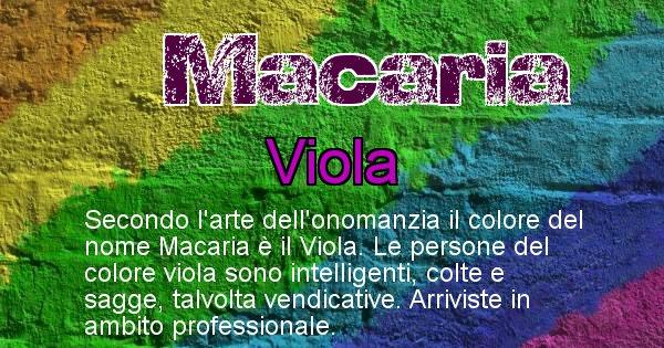 Macaria - Colore corrispondente al nome Macaria