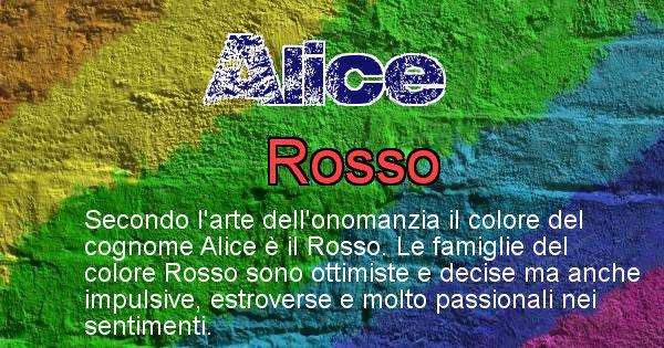 Alice - Scopri il colore associato al Cognome Alice