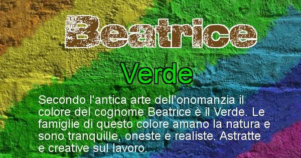 Beatrice - Scopri il colore associato al Cognome Beatrice