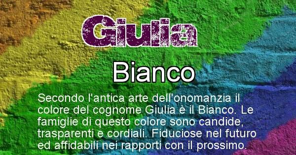 Giulia - Scopri il colore associato al Cognome Giulia