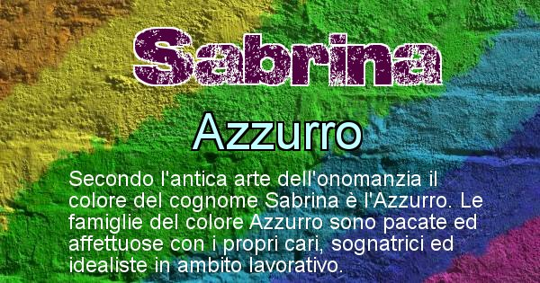 Sabrina - Scopri il colore associato al Cognome Sabrina