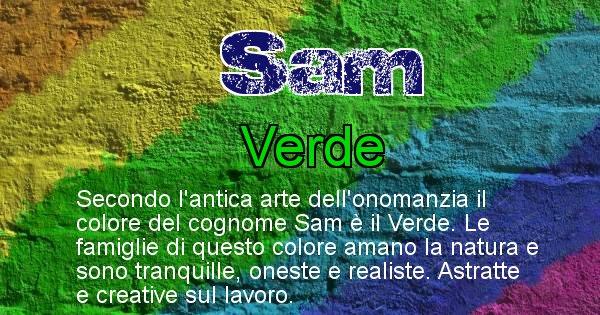 Sam - Scopri il colore associato al Cognome Sam