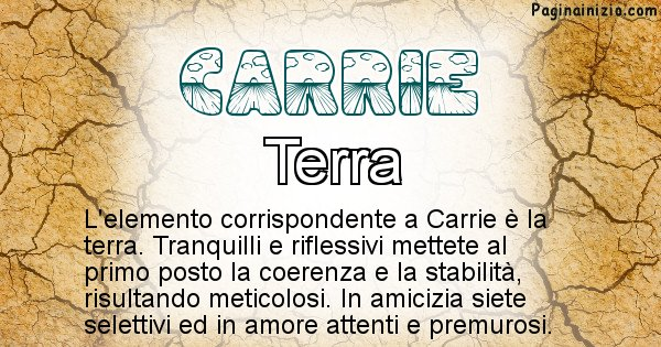 Carrie - Elemento naturale per Carrie