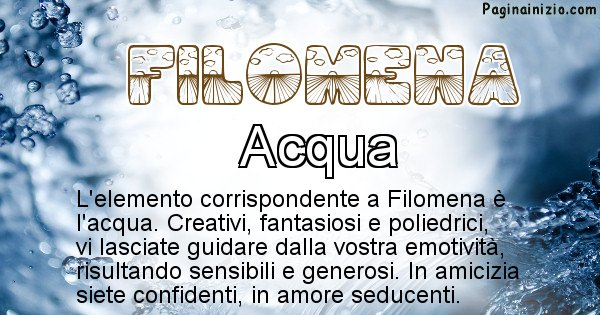 Filomena - Elemento naturale per Filomena