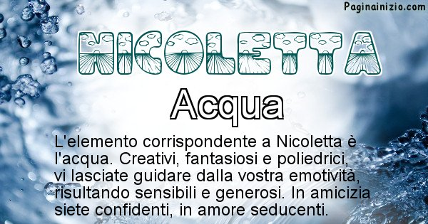 Nicoletta - Elemento naturale per Nicoletta