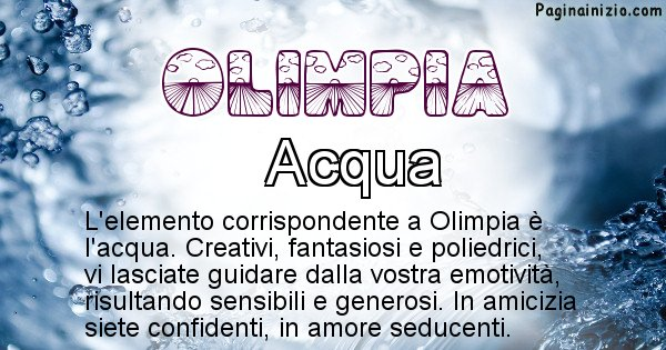 Olimpia - Elemento naturale per Olimpia
