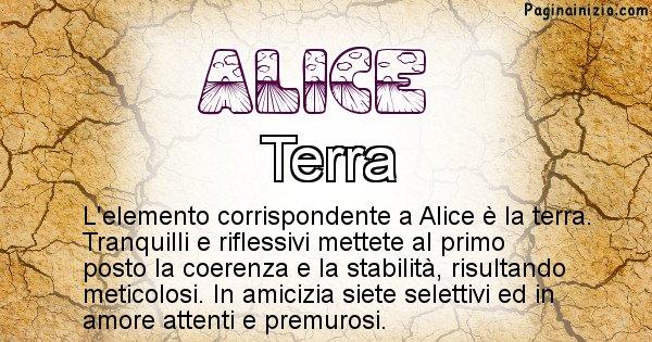 Alice - Elemento naturale associato al cognome Alice