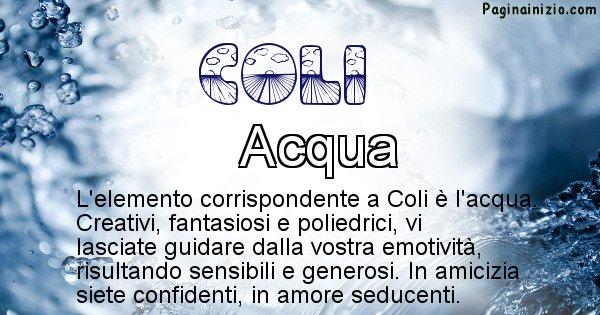 Coli - Elemento naturale associato al cognome Coli