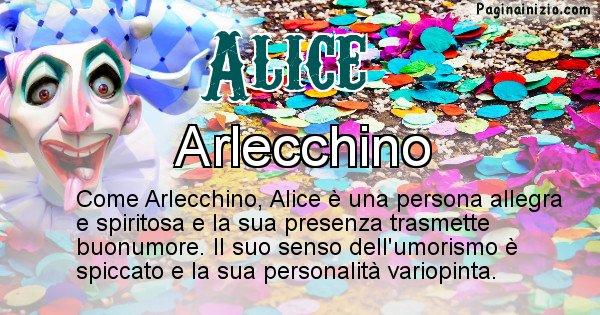Alice - Maschera associata al nome Alice