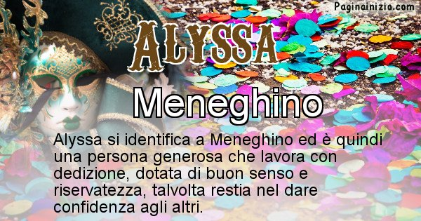 Alyssa - Maschera associata al nome Alyssa