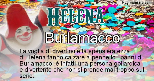 Helena - Maschera associata al nome Helena