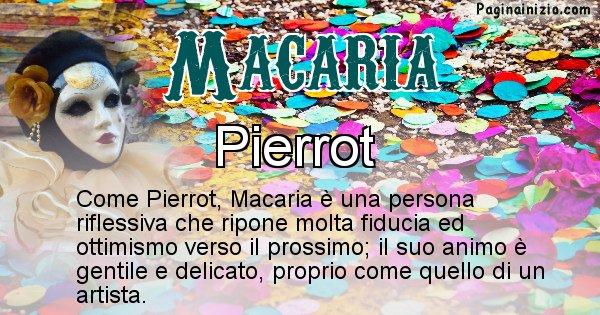 Macaria - Maschera associata al nome Macaria