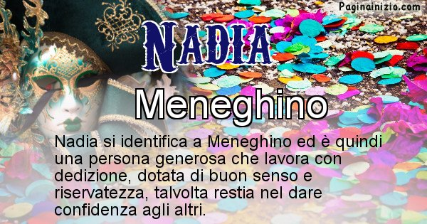 Nadia - Maschera associata al nome Nadia