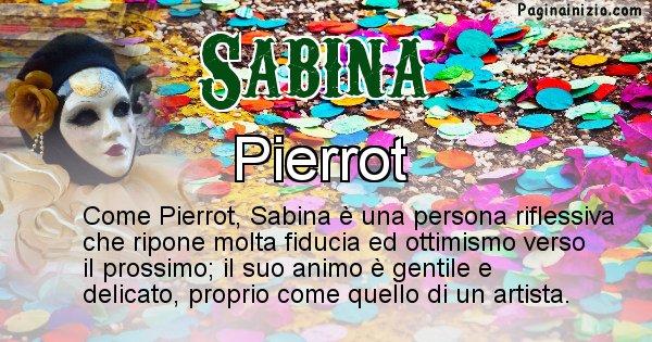 Sabina - Maschera associata al nome Sabina