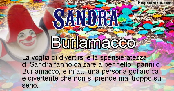 Sandra - Maschera associata al nome Sandra