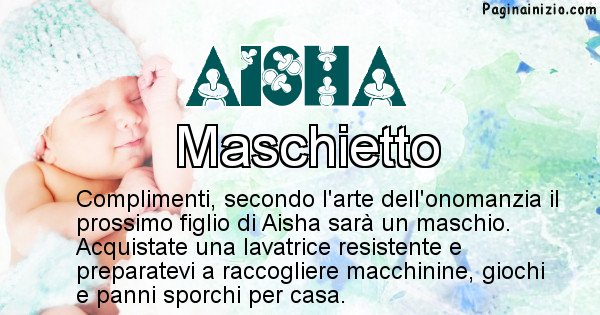 Aisha - Sesso del figlio di Aisha