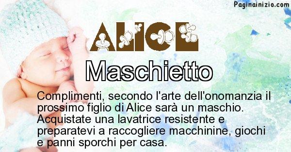 Alice - Sesso del figlio di Alice
