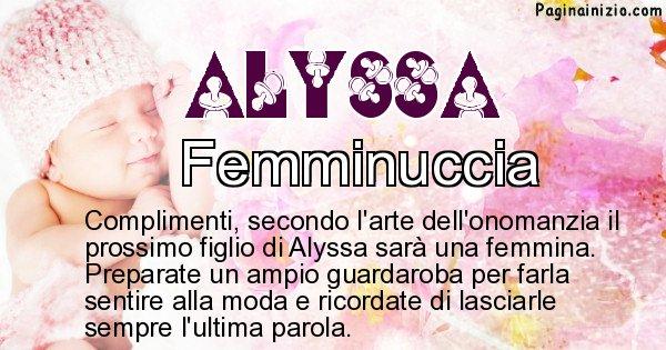 Alyssa - Sesso del figlio di Alyssa