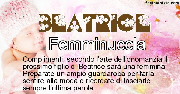Beatrice - Sesso del figlio di Beatrice