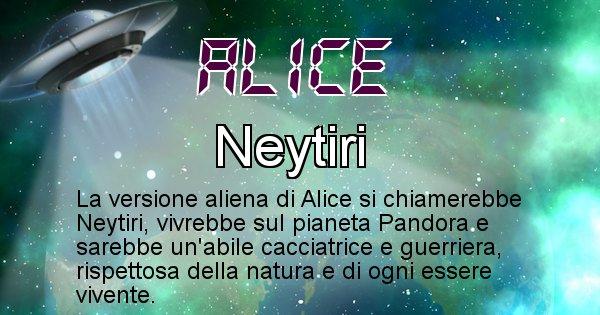 Alice - Nome alieno corrispondente a Alice