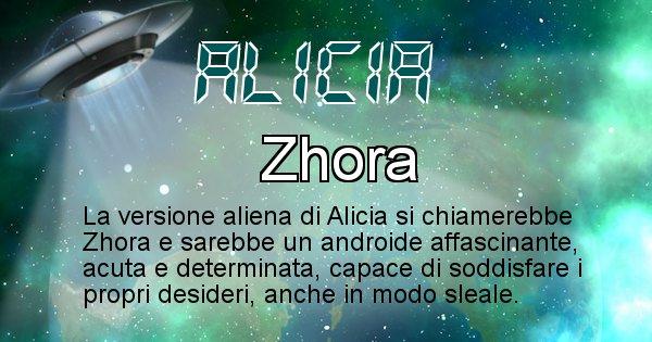 Alicia - Nome alieno corrispondente a Alicia